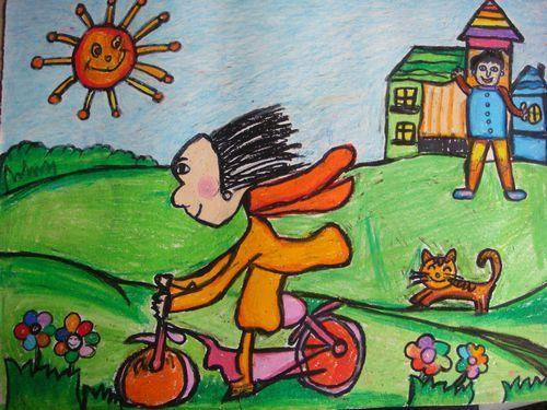 春游-蜡笔画图集图片_儿童蜡笔画_少儿图库_中国儿童图片