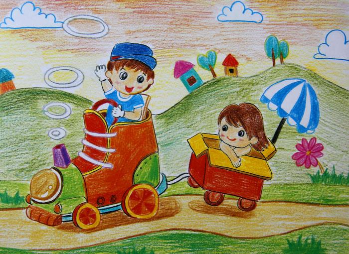 暑期-蜡笔画图集图片_儿童蜡笔画_少儿图库_中国儿童