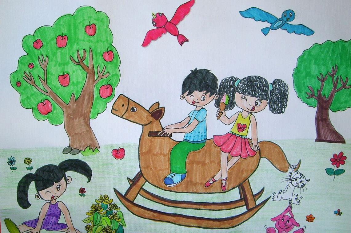 木马-蜡笔画图集图片_儿童蜡笔画_少儿图库_中国儿童