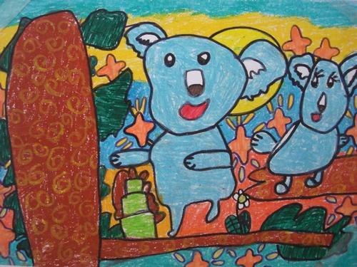 树袋熊-蜡笔画图集图片_儿童蜡笔画_少儿图库_中国