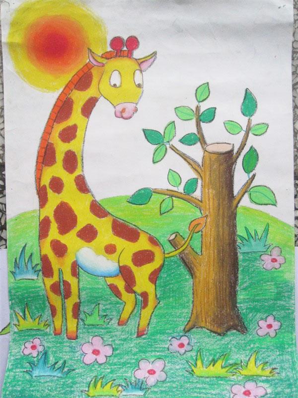 梅花鹿-蜡笔画图集图片