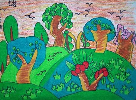 森林-蜡笔画图集图片_儿童蜡笔画