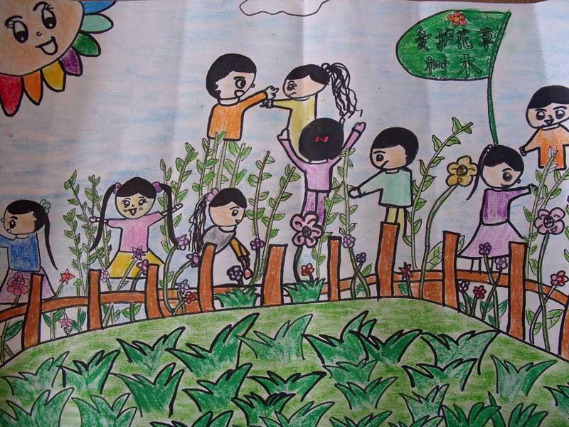 植树节-蜡笔画图集图片