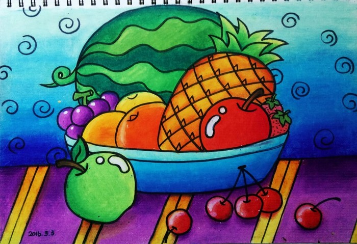 水果-蜡笔画图集图片_儿童蜡笔画_少儿图库_中国儿童