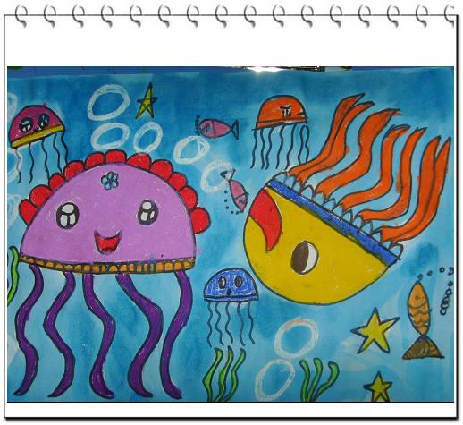 水母-蜡笔画图集