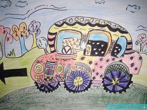 汽车-蜡笔画图集图片_儿童蜡笔画