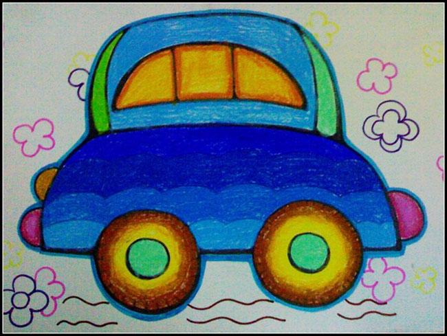 汽车-蜡笔画图集图片_儿童蜡笔画_少儿图库_中国儿童