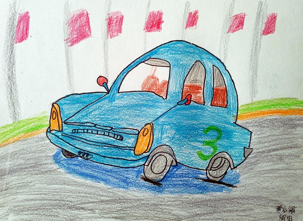 汽车-蜡笔画图集