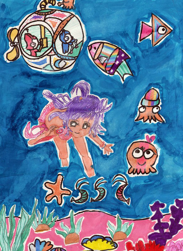 海底世界-蜡笔画图集图片_儿童蜡笔画_少儿图库_中国