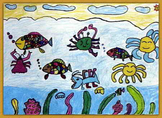 海底世界-蜡笔画图集图片_儿童蜡笔画_少儿图库_中国儿童资源网