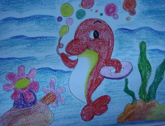 海豚-蜡笔画图集
