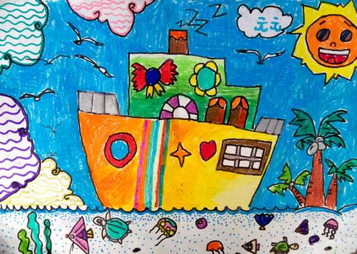 潜艇 蜡笔画图集图片 儿童蜡笔画 少儿图库 中国儿童