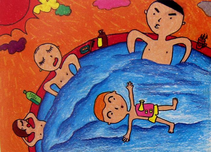 卡通游泳人物簡單畫
