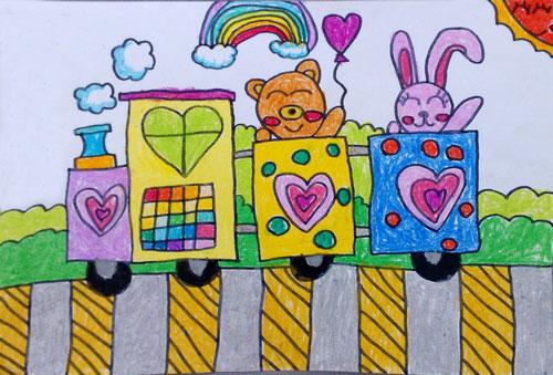 火车-蜡笔画图集图片_儿童蜡笔画_少儿图库_中国儿童