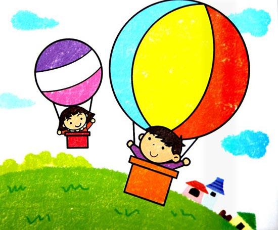 热气球-蜡笔画图集图片_儿童蜡笔画_少儿图库_中国