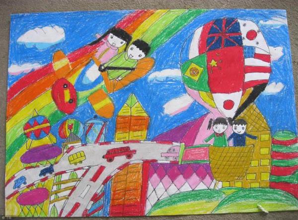 热气球-蜡笔画图集图片_儿童蜡笔画_少儿图库_中国图片