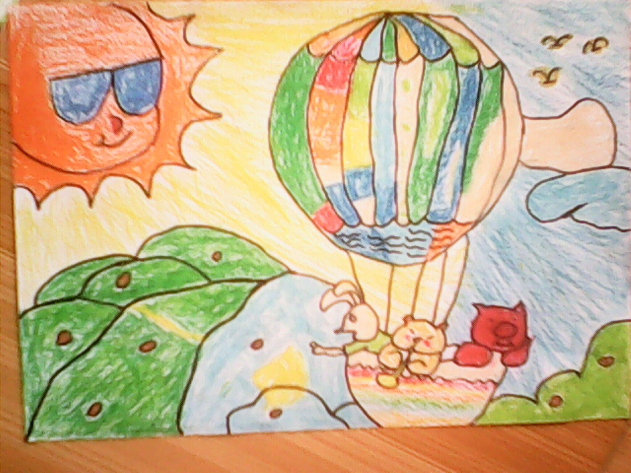 热气球-蜡笔画图集