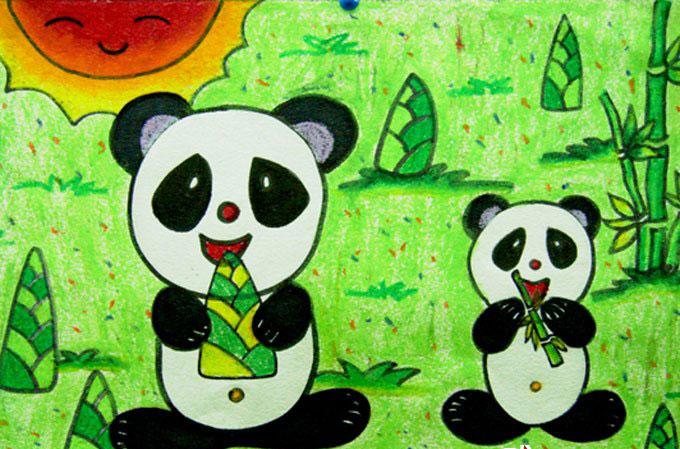 熊猫-蜡笔画图集