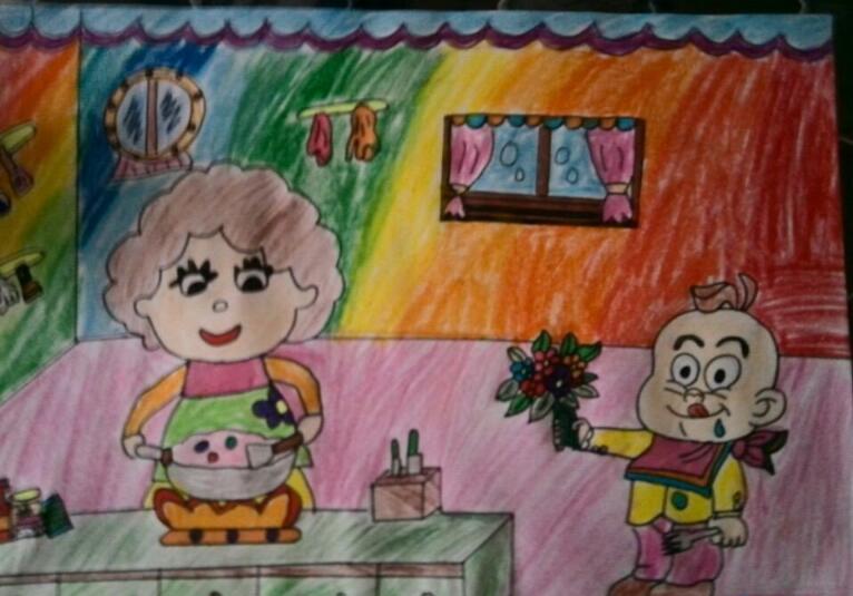 爸爸妈妈-蜡笔画图集