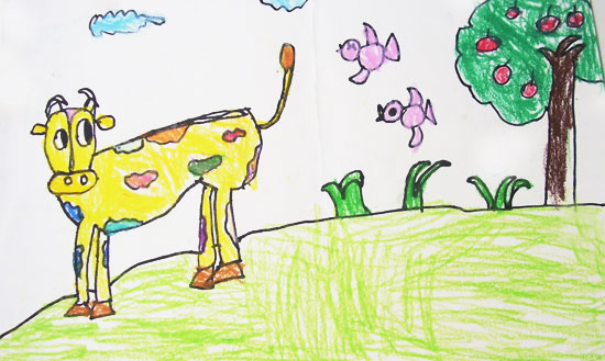 牛-蜡笔画图集图片_儿童蜡笔画_少儿图库_中国儿童