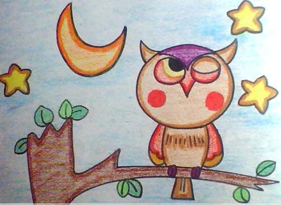 猫头鹰-蜡笔画图集图片_儿童蜡笔画_少儿图库_中国