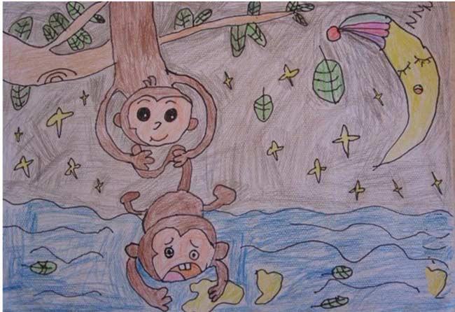 猴子-蜡笔画图集