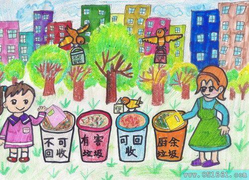 创意垃圾分类作品手绘