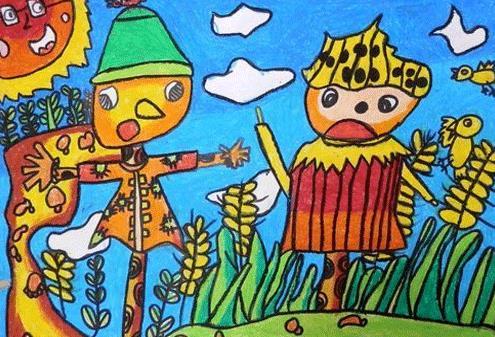 稻草人-蜡笔画图集