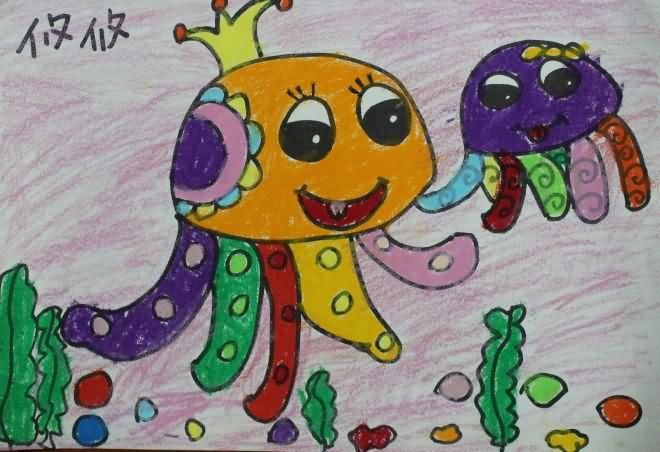 章鱼-蜡笔画图集图片_儿童蜡笔画_少儿图库_中国儿童