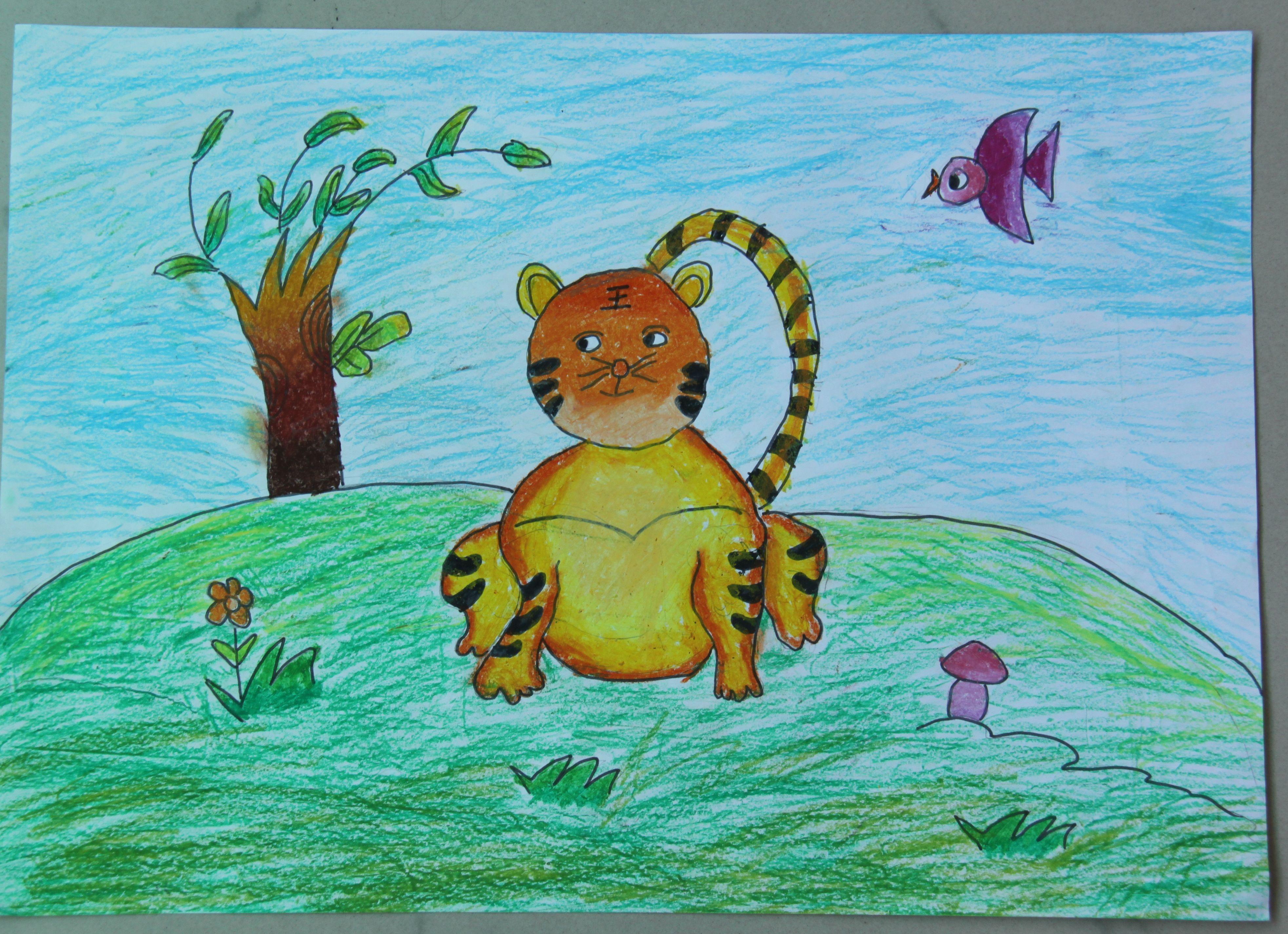 老虎-蜡笔画图集图片_儿童蜡笔画_少儿图库_中国儿童