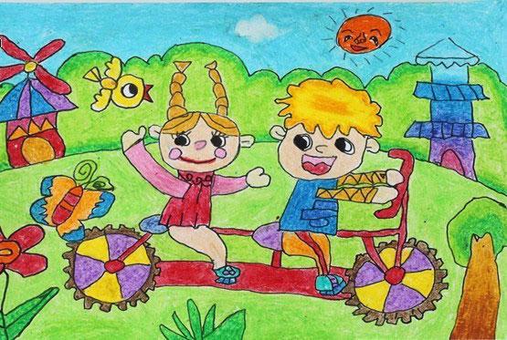 自行车-蜡笔画图集图片_儿童蜡笔画_少儿图库_中国