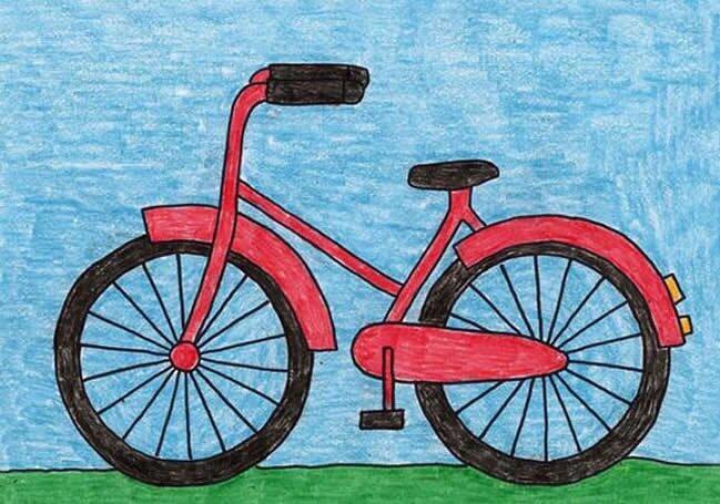 自行车-蜡笔画图集