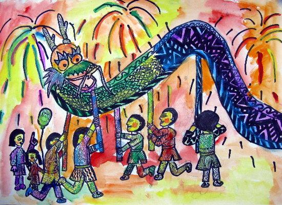舞龙狮-蜡笔画图集图片_儿童蜡笔画_少儿图库_中国