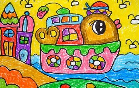 船-蜡笔画图集图片
