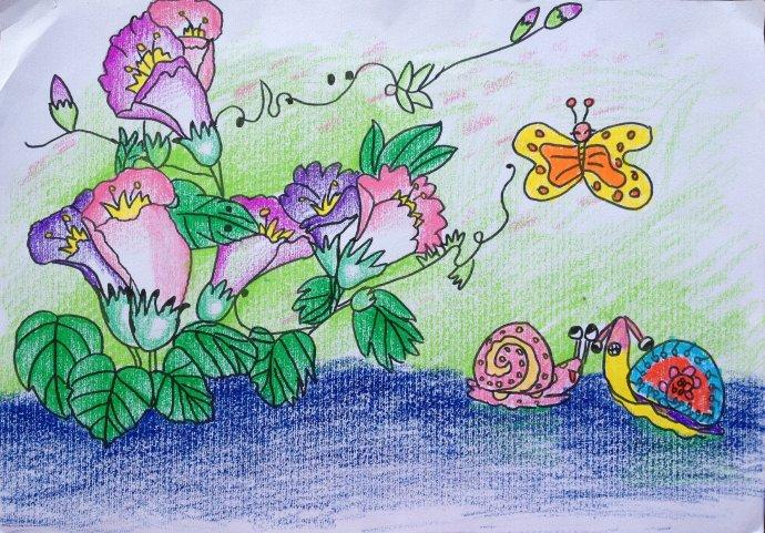 花朵-蜡笔画图集图片