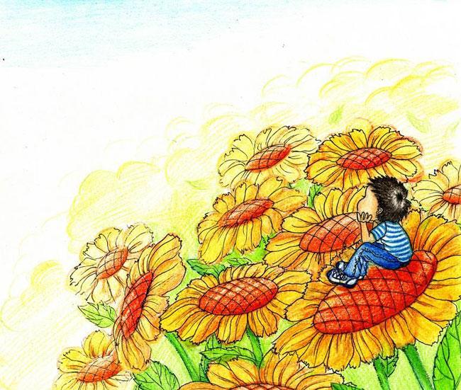 花朵-蜡笔画图集
