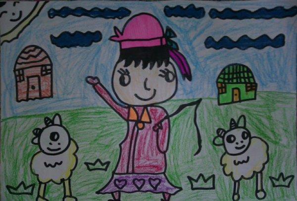 草原-蜡笔画图集图片_儿童蜡笔画_少儿图库_中国儿童