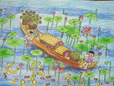 我的家乡大海简笔画