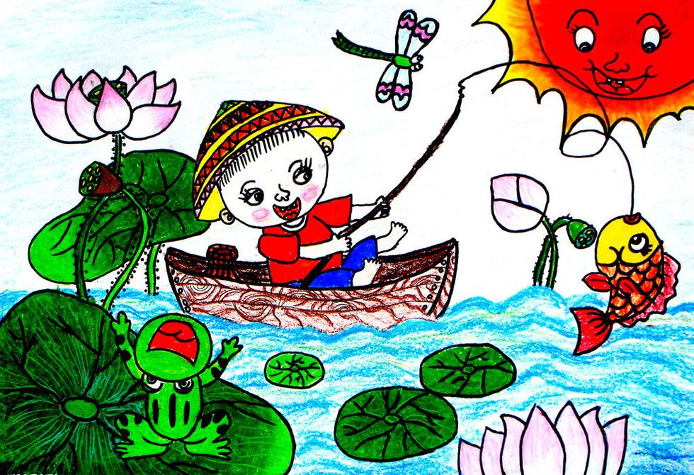 荷花-蜡笔画图集图片_儿童蜡笔画_少儿图库_中国儿童资源网