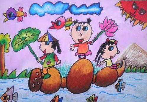 莲藕-蜡笔画图集