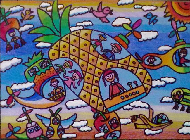 菠萝-蜡笔画图集图片_儿童蜡笔画_少儿图库_中国儿童