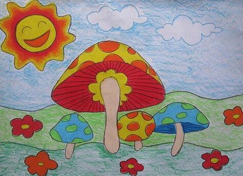 蘑菇-蜡笔画图集