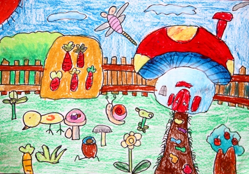 蘑菇-蜡笔画图集图片_儿童蜡笔画_少儿图库_中国儿童