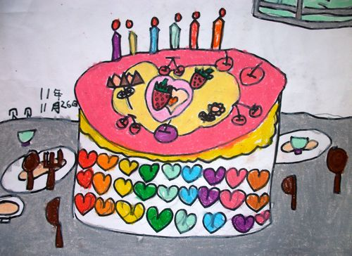 蛋糕-蜡笔画图集图片_儿童蜡笔画