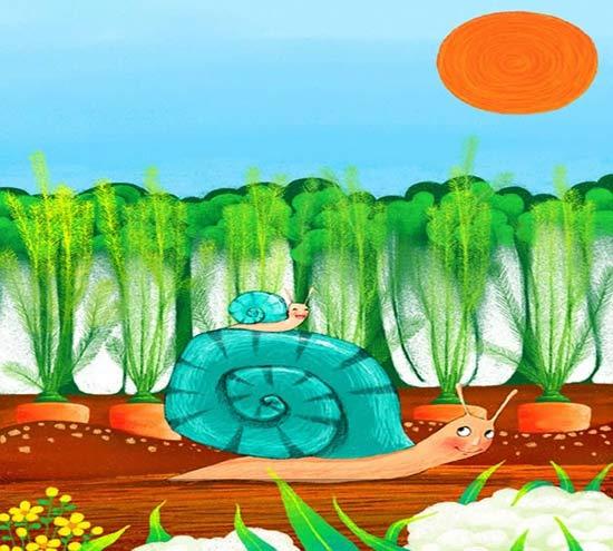 蜗牛-蜡笔画图集