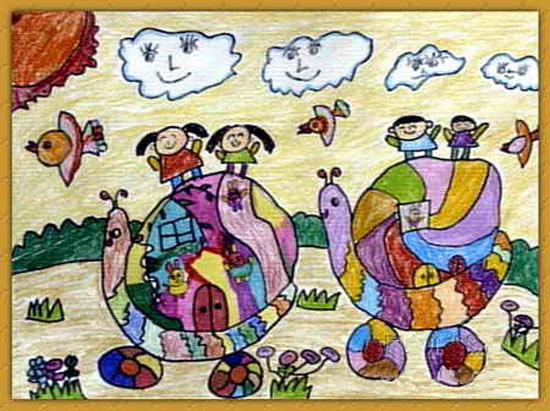 蜗牛-蜡笔画图集图片_儿童蜡笔画_少儿图库_中国儿童资源网