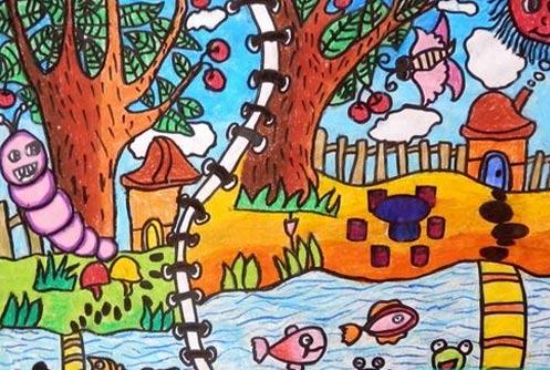 蝴蝶-蜡笔画图集图片_儿童蜡笔画_少儿图库_中国儿童