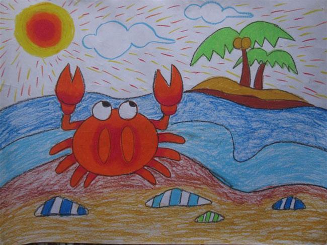 螃蟹-蜡笔画图集图片_儿童蜡笔画_少儿图库_中国儿童