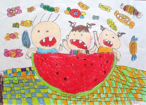 西瓜-蜡笔画图集图片_儿童蜡笔画_少儿图库_中国儿童