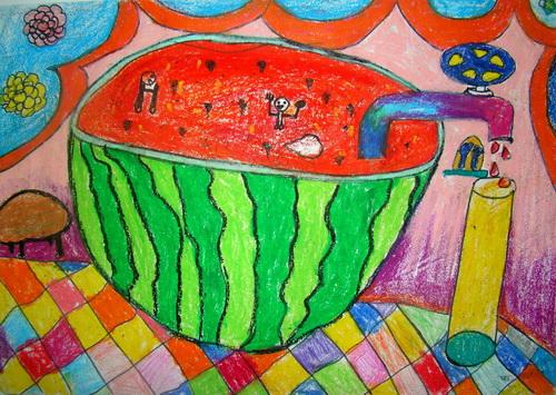 西瓜-蜡笔画图集